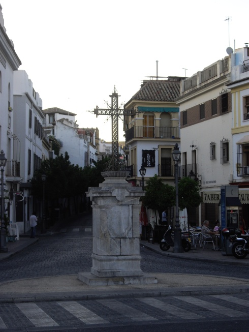 Crucifix at bottom of Calle de la Feria and opposite Puente de San Gabriel